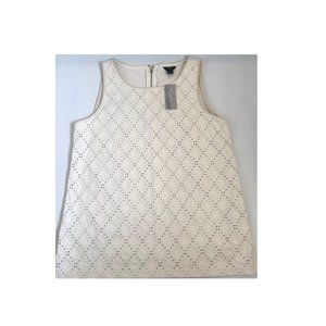 Ann Taylor sleeveless offwhite faux leather top SP